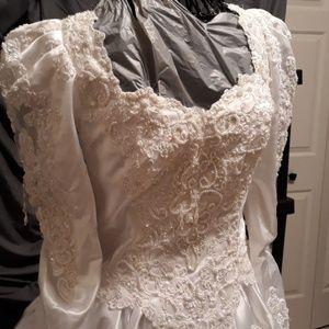 Wedding dress size 12 white beaded lace satin silk
